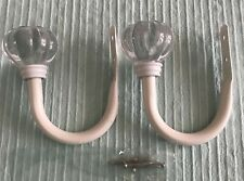 New POTTERY BARN Kids Ivory Metal Curtain Tiebacks Clear Finials & Hardware