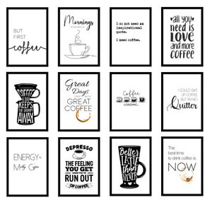 Coffee Kitchen Quote Modern Home Office Art Prints Wall Art Unframed Posters