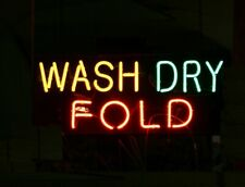 "WASH DRY FOLD Open Neon Sign 20""x12"" Lamp Light Windows Beer Pub Decor Glass"