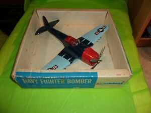 HUBLEY #495 NAVY FIGHTER BOMBER TOY METAL AIRPLANE IN THE ORIGINAL BOX!!