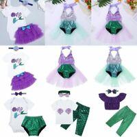 Baby Girls 1st First Birthday Dress Romper Tutu Skirt Mermaid Cake Smash Outfit