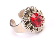 Silver Tone Ring with Red Crystal, Vintage 1950s, Size O