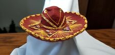 Mexican Sombrero Burgundy Maroon Miniature Doll Hat