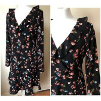 BNWT Oasis Black Floral Pattern Long Sleeve V Neck Smock Dress Size 12