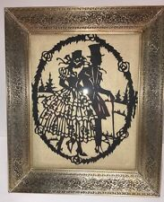 VINTAGE Brass METAL PICTURE FRAME w/ Intricate FLOWERS & Silhouette Picture