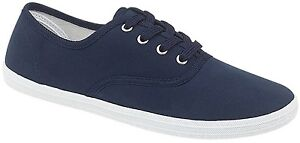Womens Lace Up Canvas Shoes Girls Pumps Plimsolls Sneakers Trainers Navy 3