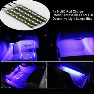 4x 9 LED Charge Car Accessories Foot Car Decorative Light Lamps Interior Blue