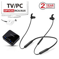 Wireless Neckband Headphones Earbuds Set for TV PC Bluetooth Transmitter