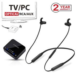 Wireless Neckband Headphones Earbuds Set for TV PC Bluetooth Transmitter