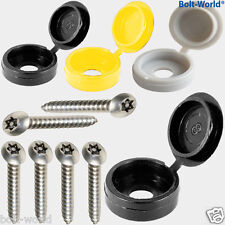 12 x NUMBER PLATE FIXING HINGE COVER KIT BLACK WHITE YELLOW CAPS SECURITY SCREWS