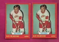 2 X 1973-74 OPC # 1 WINGS ALEX DELVECCHIO  CARD  (INV# A6233)