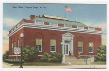 Post Office Charles Town West Viriginia linen postcard