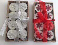 16 x Christmas Snowflake Tea Light Candles Boxed Silver Gold Red - 2 Sets of 8