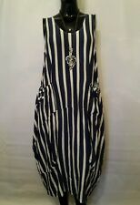 "New LaGeNLooK QUIRKY BOHO,parachute ASYMMETRIC Stripe jersey pocket DRESS (46"")"