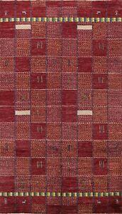 Contemporary Checked Gabbeh Geometric Oriental Area Rug Modern Handmade Wool 6x9