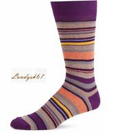 Saks Fifth Avenue Cotton Men's Italy Purple Stripes Soft Socks Sz 10-13