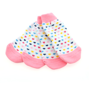 Doggie Design Non-Skid Dog Socks - Pink and White Hearts