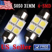 2 X White 31MM 5050 4SMD Festoon Dome Map Interior LED Light bulbs DE3175 DE3021