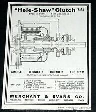 "1910 OLD MAGAZINE PRINT AD, MERCHANT & SHAW CO, ""HELE-SHAW"" AUTOMOBILE CLUTCH!"
