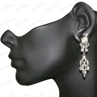 "3""long SPARKLY CRYSTAL CHANDELIER EARRINGS silver rhinestone marquis crystals"