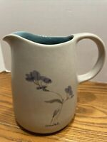 Pottery Clay Vase Pitcher Jug Anise Floral Painted Glazed Art Hand Made 5""