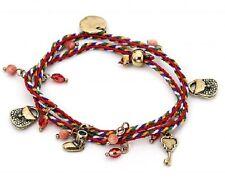 Multi Coloured Cord Bracelet & Gold Charms