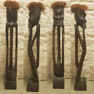 Carved African Wooden Sculpture Ethnic Tribal Statue Wood Carving Art 100 cm
