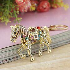 Schlüssel Taschen 3D XL Anhänger Pferd Gold mit Klaren und Bunten Strasssteinen