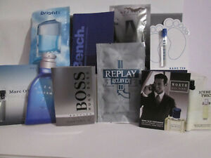 10 x Aftershave Samples Assorted lot Boss Azzaro Bench & lots more BARGAIN LOT