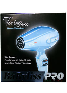 BABYLISS PRO NANO TITANIUM TORINO 6100 COMPACT HAIR/BLOW DRYER BABNTB6160N BLUE