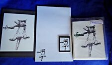 Hang in There Cat 4 Pc Set-Notepad, 6 Blank Notecards, Print and Magnet New