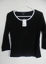Women  Black Pointelle White Boatneck 3/4 Sleeves Casual Top Shirt Sz  M