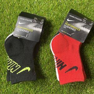Nike Performance Cushioned Crew Socks Young Athletes Kids 7C-10C NEW 6 Pairs
