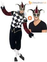 Mens Ladies Harlequin + Jester Cotume Gothic Circus Halloween Fancy Dress Couple