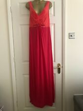 BODEN Salmon Pink/red Maxi Long Embellished Grecian Style Dress. Size 12 L Long