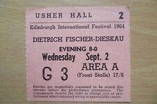 CONCERT TICKET 1964-Usher Hall Edinburgh Int'l Festiva-DIETRICH FISCHER DIESKAU