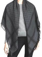 "NWT GUCCI Grey Survie Monogram GG Wool And Silk Blend Shawl Scarf 55"" Authentic"