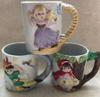 3 Vintage Mugs JSNY Red Riding Hood Peter Pan Cinderella 3D Design Taiwan Used