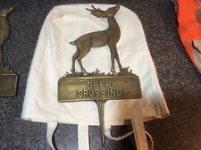 Vintage Brass Deer Crossing Lawn Garden Ground Sign