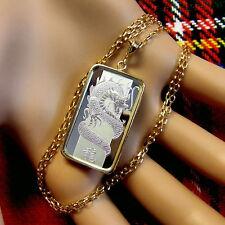 9ct gold New dragon & horse bullion pendant with 10g fine silver ingot & chain