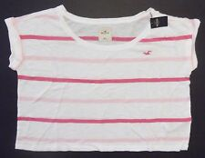 New Hollister Abercrombie Little Harbor Womans White Pink Tee Shirt Size M/L