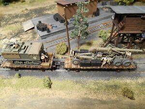 HO Roco Minitanks Patton's 3rd Army Artillery Railway Cars #A1317 Custom Detail