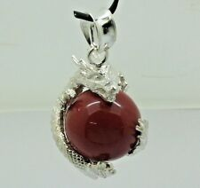 DRAGON BALL Red Coral Gemstone Pendant in 925 Solid Sterling Silver (New)