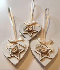 3 X Christmas Decorations Cream Ivory Jute Star Cream Bows Handmade Neutral Wood