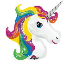 "Rainbow Unicorn Head Balloon 33"" Foil Mylar Birthday Party Decorations Supplies"