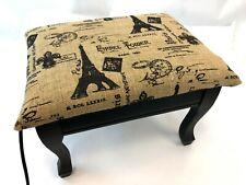 "Vintage 17"" Paris France Eiffel Tower Burlap Electric Heated Ottoman Footstool"