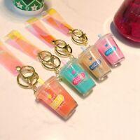 Cute Keychain Pearl Milk Tea Drink Bottle Keyring Bag Pendant Couples Girl NWUS