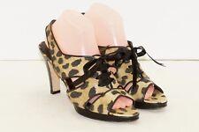 RAMON TENZA HEELS size 8.5 M Animal Print Shoes Strappy Canvas EUC