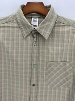 The North Face long sleeve shirt Button Up Hiking Casual Green Plaid Size Large