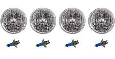 "5-3/4"" Crystal Clear Halogen Headlight Metal Headlamp Sw 60/55W Light Bulbs Set"